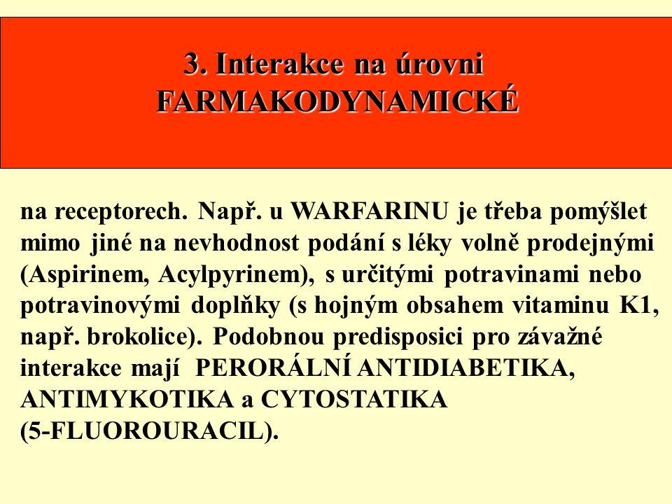 3. Interakce na úrovni FARMAKODYNAMICKÉ