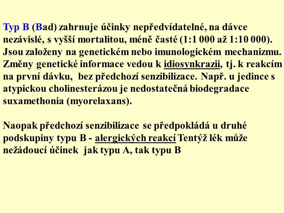 Typ B (Bad) zahrnuje účinky nepředvídatelné, na dávce