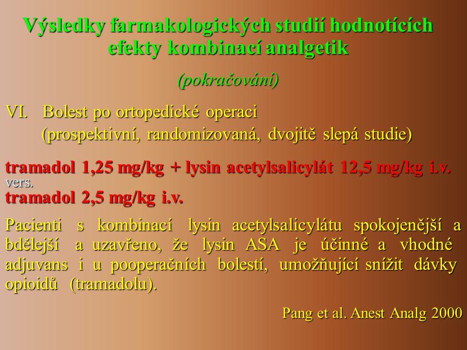 Výsledky farmakologických studií hodnotících efekty kombinací analgetik