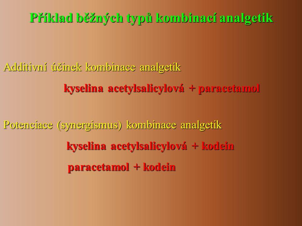 Příklad běžných typů kombinací analgetik