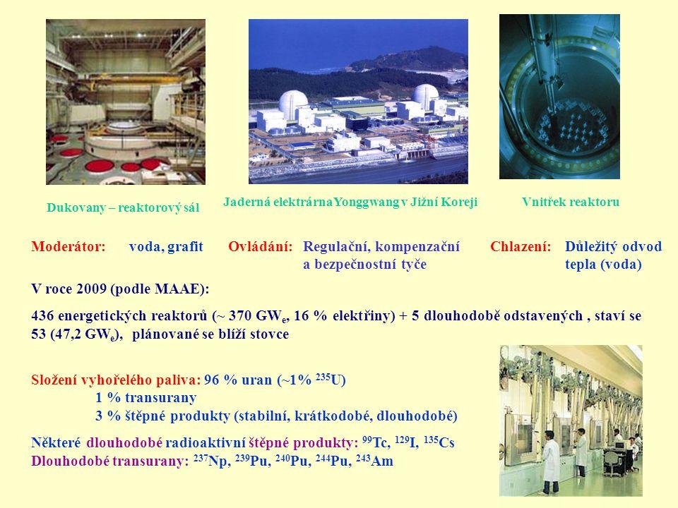 Moderátor: voda, grafit Ovládání: Regulační, kompenzační