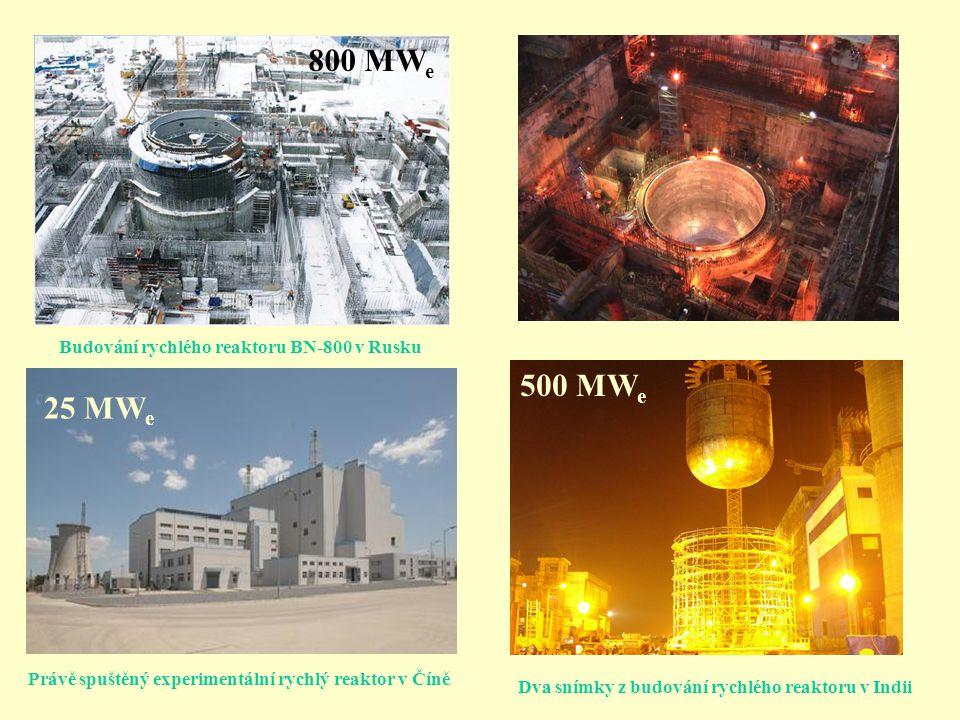 800 MWe 500 MWe 25 MWe Budování rychlého reaktoru BN-800 v Rusku