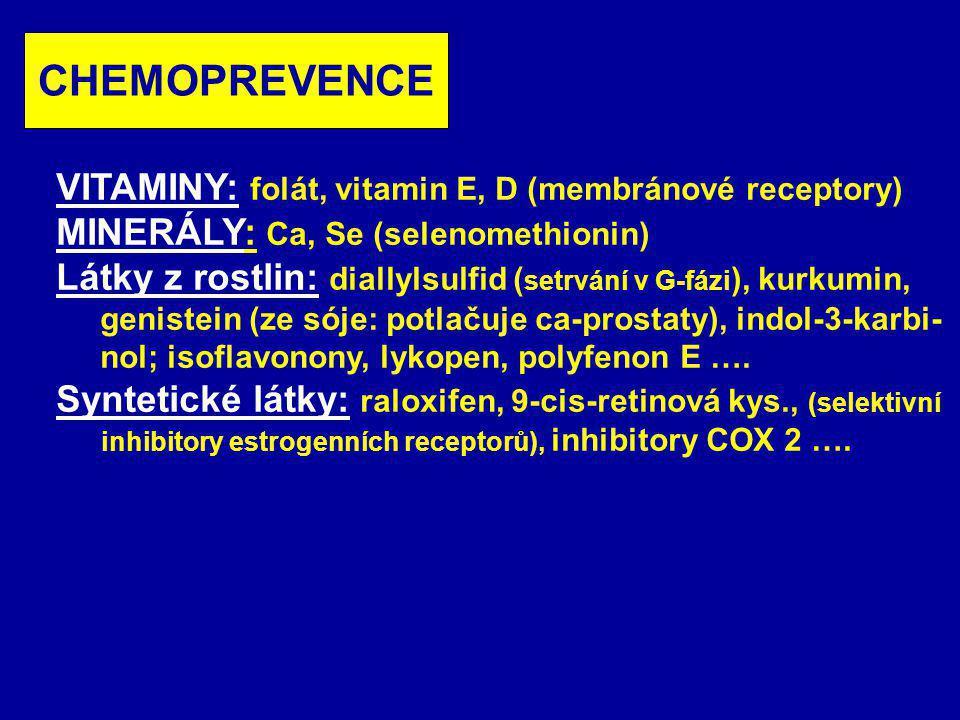 CHEMOPREVENCE VITAMINY: folát, vitamin E, D (membránové receptory)
