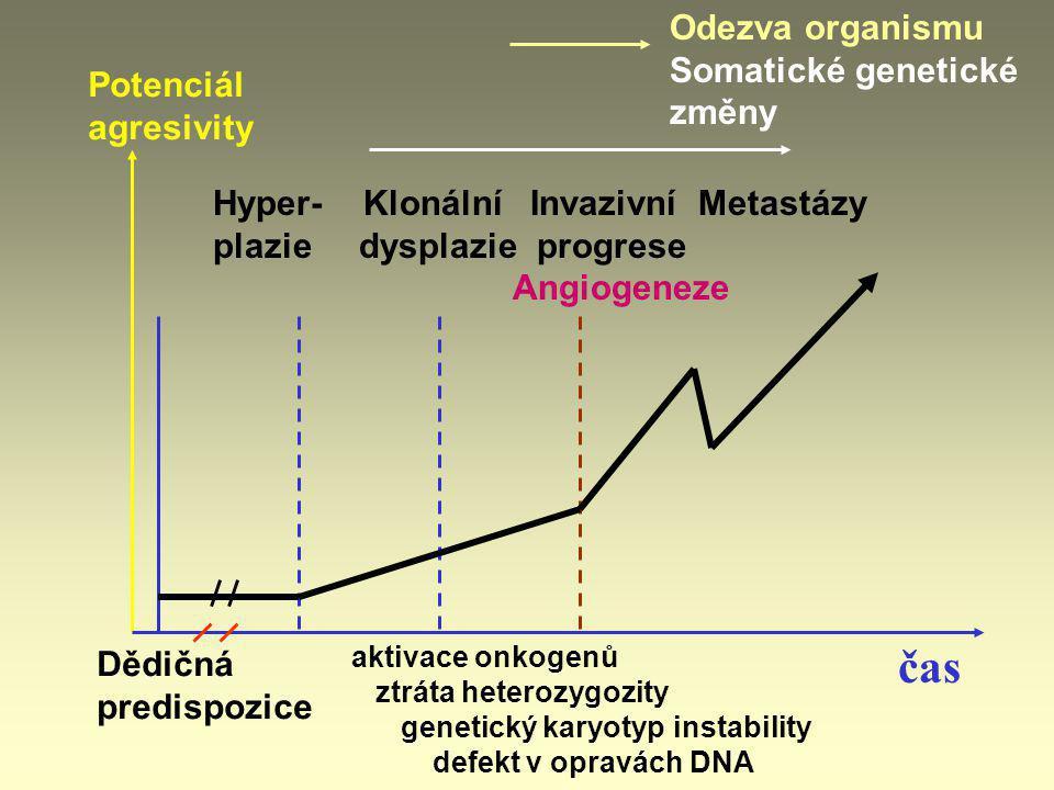 čas Odezva organismu Somatické genetické změny Potenciál agresivity