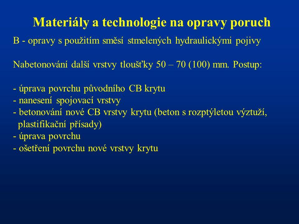 Materiály a technologie na opravy poruch