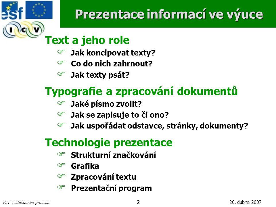 Prezentace informací ve výuce