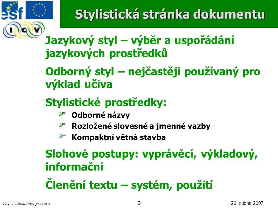 Stylistická stránka dokumentu