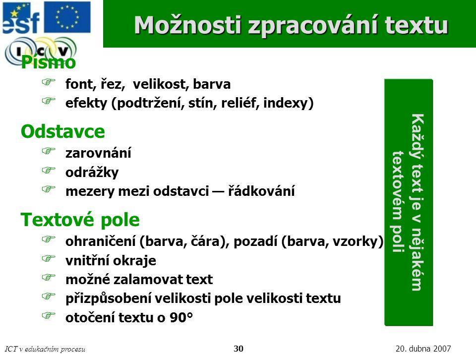 Možnosti zpracování textu