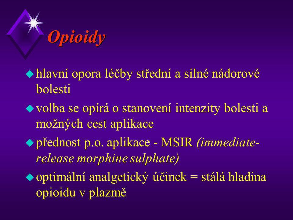 Opioidy hlavní opora léčby střední a silné nádorové bolesti