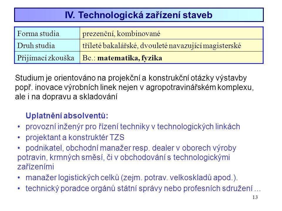 IV. Technologická zařízení staveb