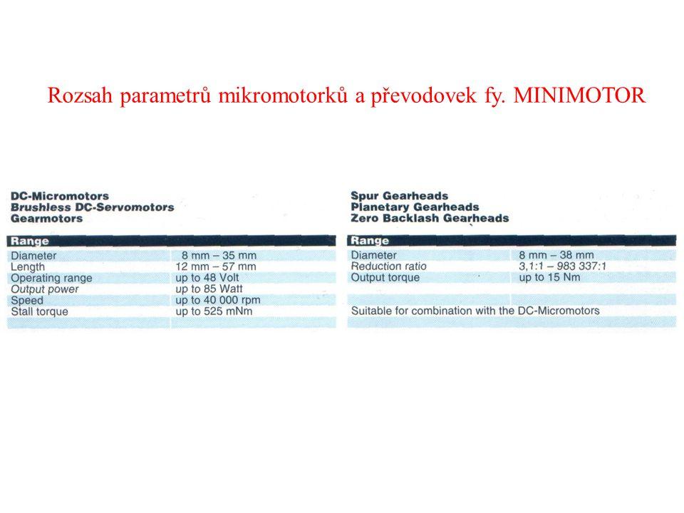 Rozsah parametrů mikromotorků a převodovek fy. MINIMOTOR