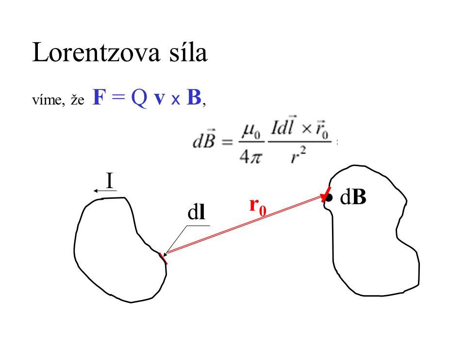 Lorentzova síla víme, že F = Q v x B, I  dB r0 dl