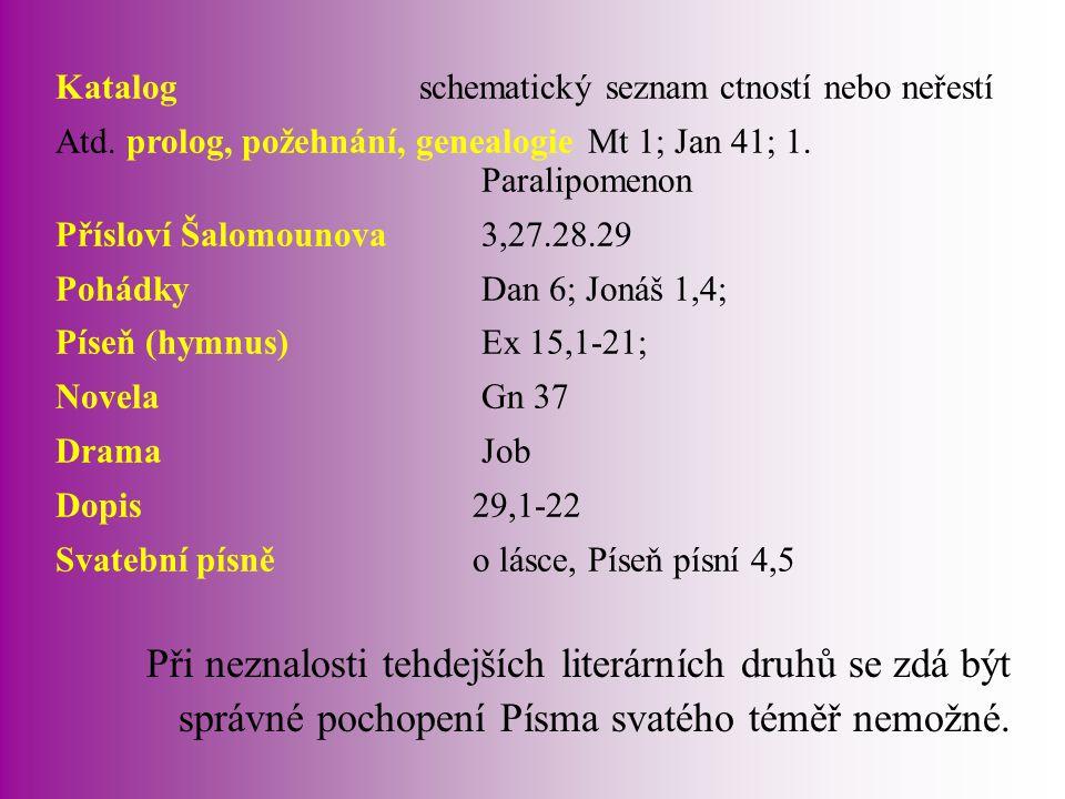 Katalog. schematický seznam ctností nebo neřestí Atd