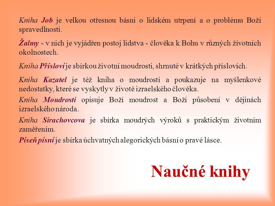 Kniha Job je velkou otřesnou básni o lidském utrpení a o problému Boží spravedlnosti.