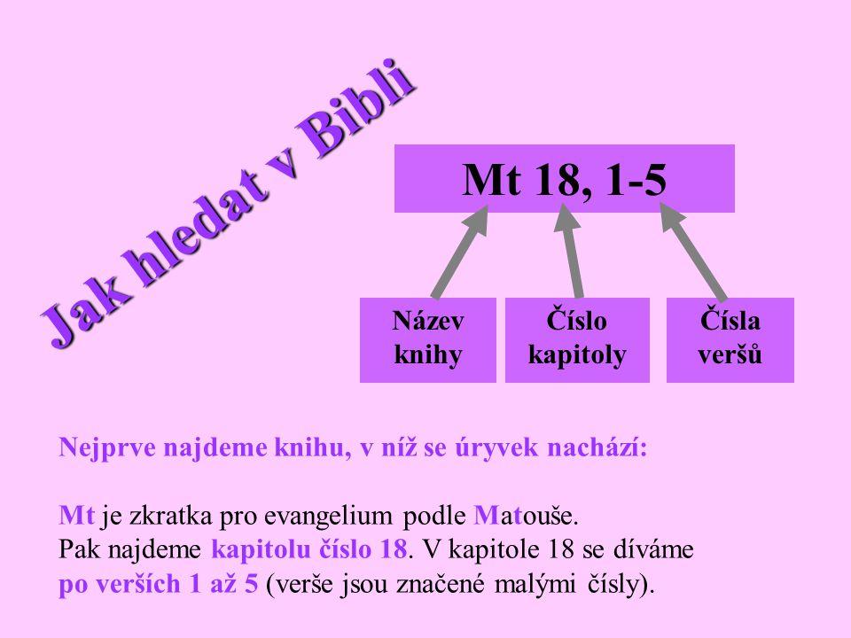 Jak hledat v Bibli Mt 18, 1-5 Název knihy Číslo kapitoly Čísla veršů