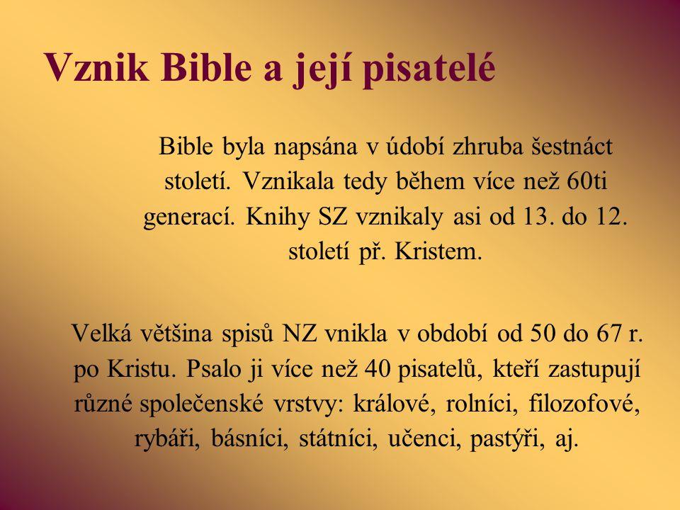 Vznik Bible a její pisatelé