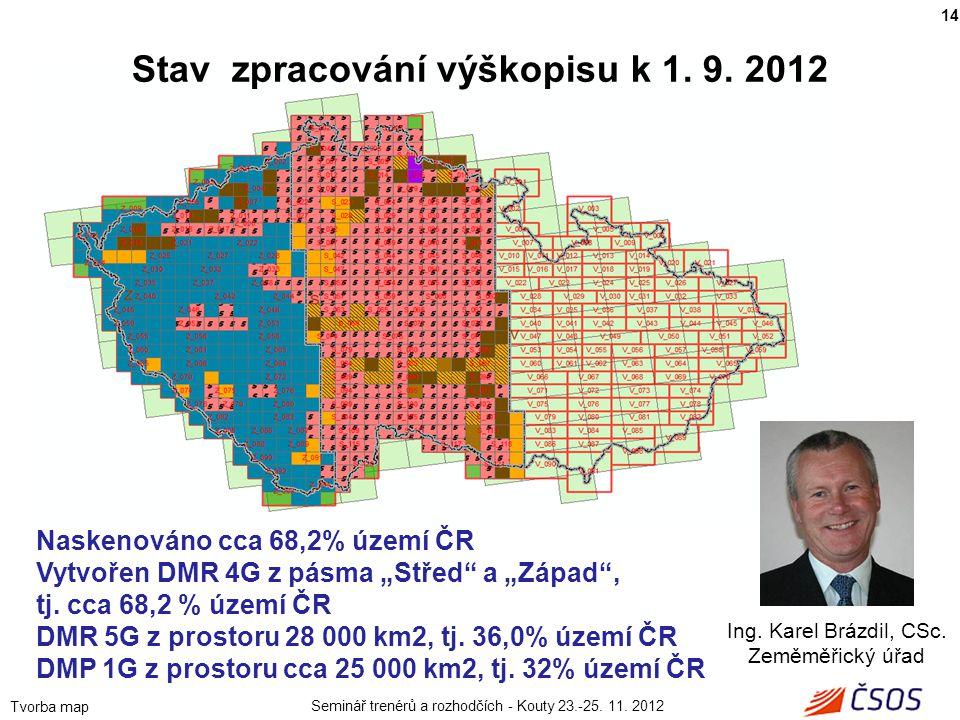 Stav zpracování výškopisu k 1. 9. 2012