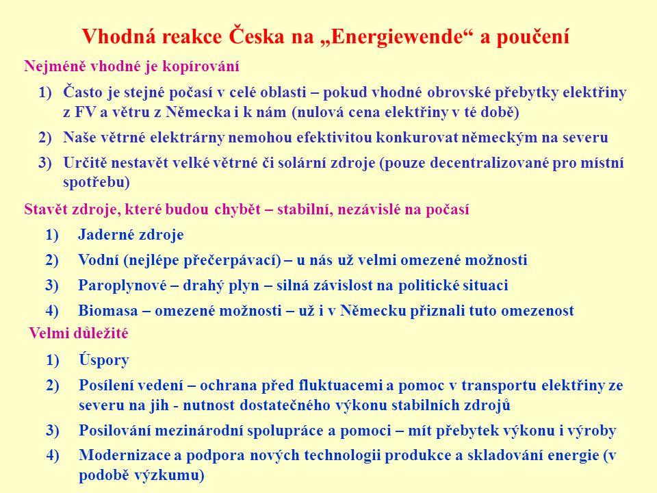 """Vhodná reakce Česka na """"Energiewende a poučení"""