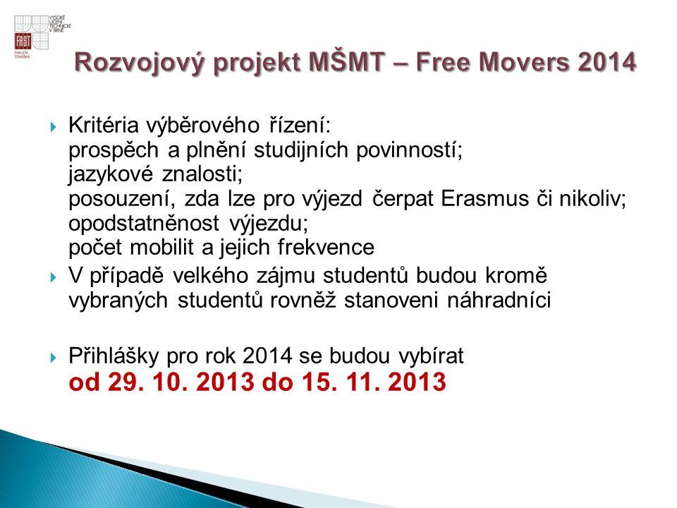 Rozvojový projekt MŠMT – Free Movers 2014
