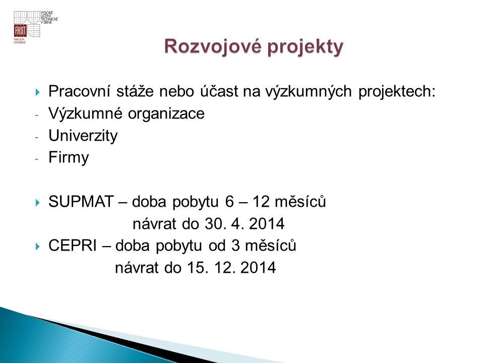 Rozvojové projekty Pracovní stáže nebo účast na výzkumných projektech: