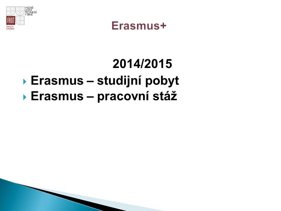 Erasmus – studijní pobyt Erasmus – pracovní stáž