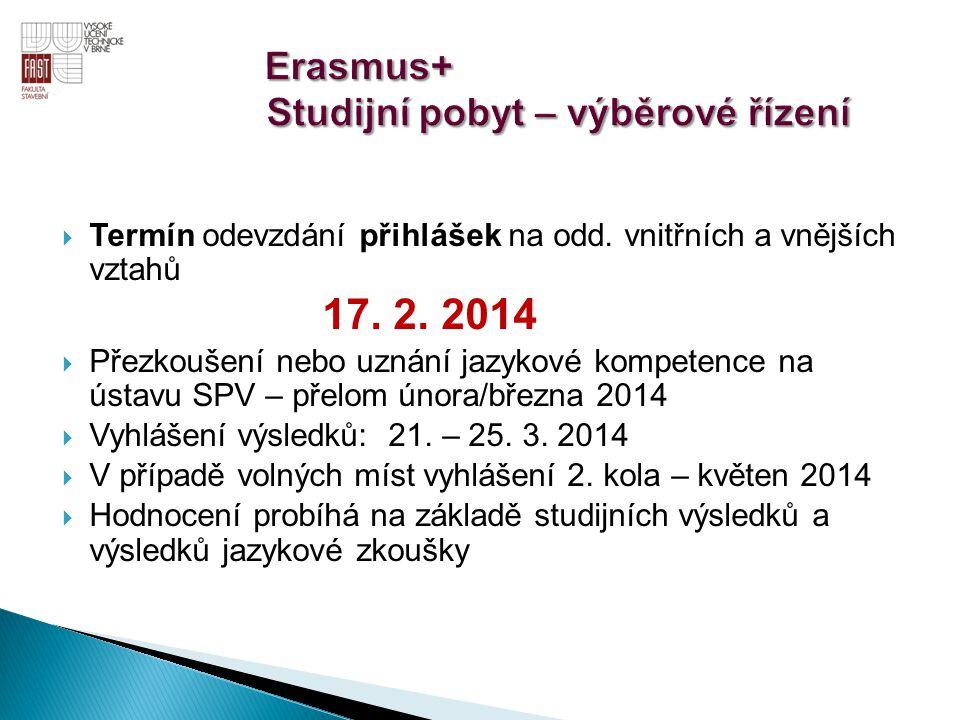 Er Erasmus+ Studijní pobyt – výběrové řízení