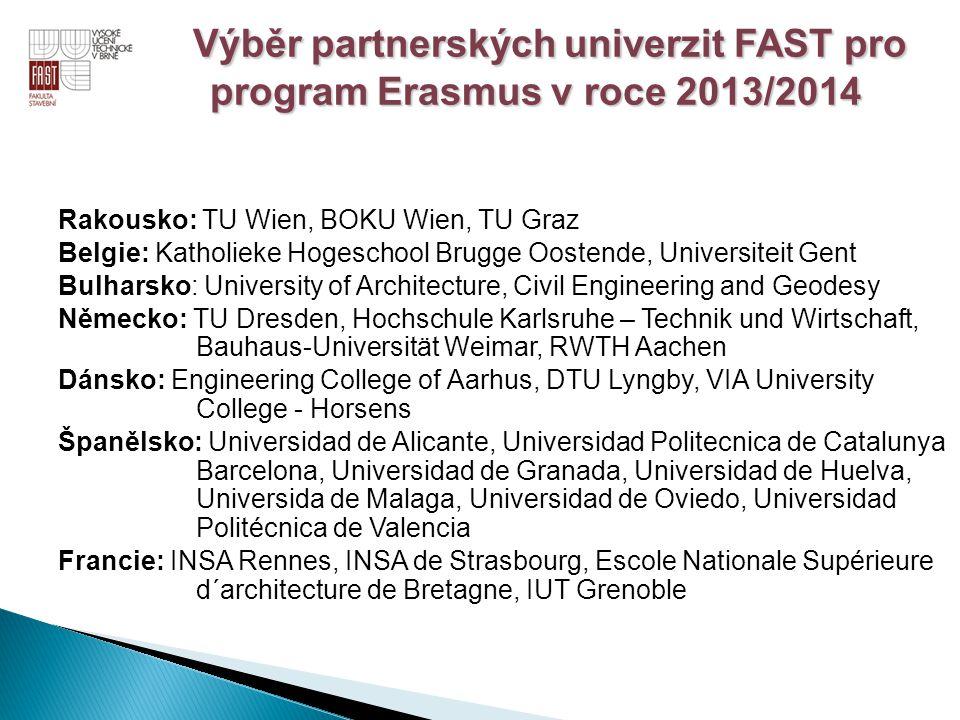 Výběr partnerských univerzit FAST pro program Erasmus v roce 2013/2014