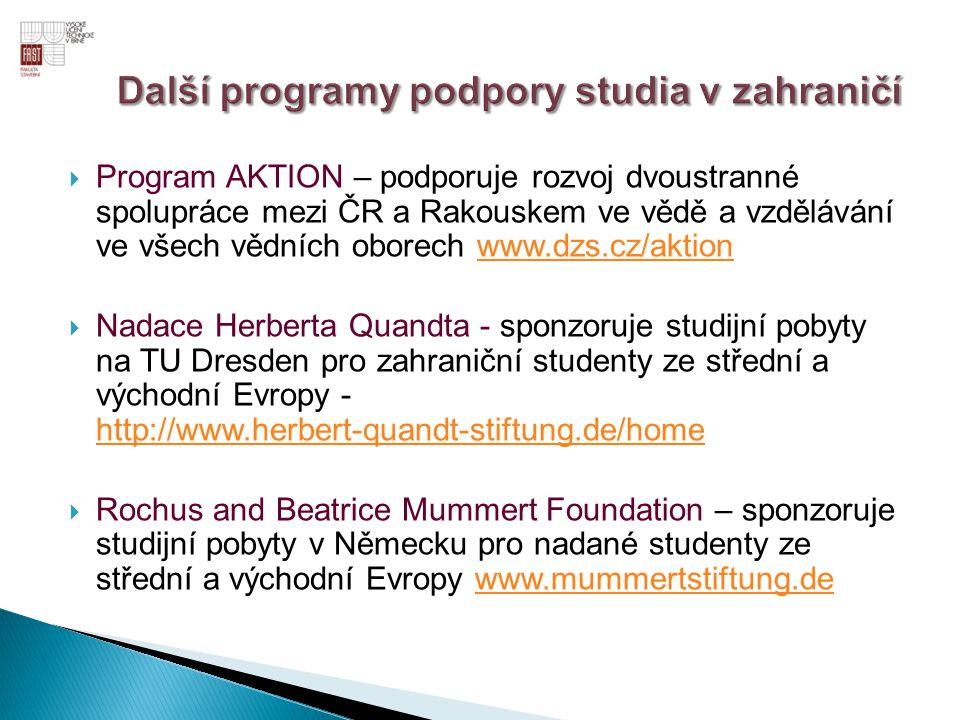 Další programy podpory studia v zahraničí