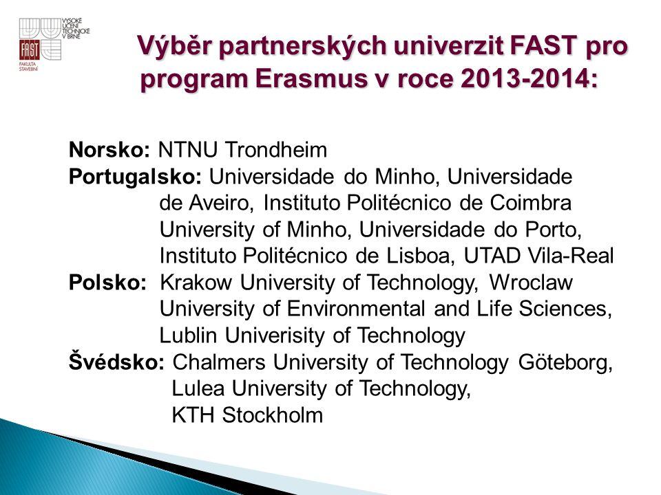 Výběr partnerských univerzit FAST pro program Erasmus v roce 2013-2014: