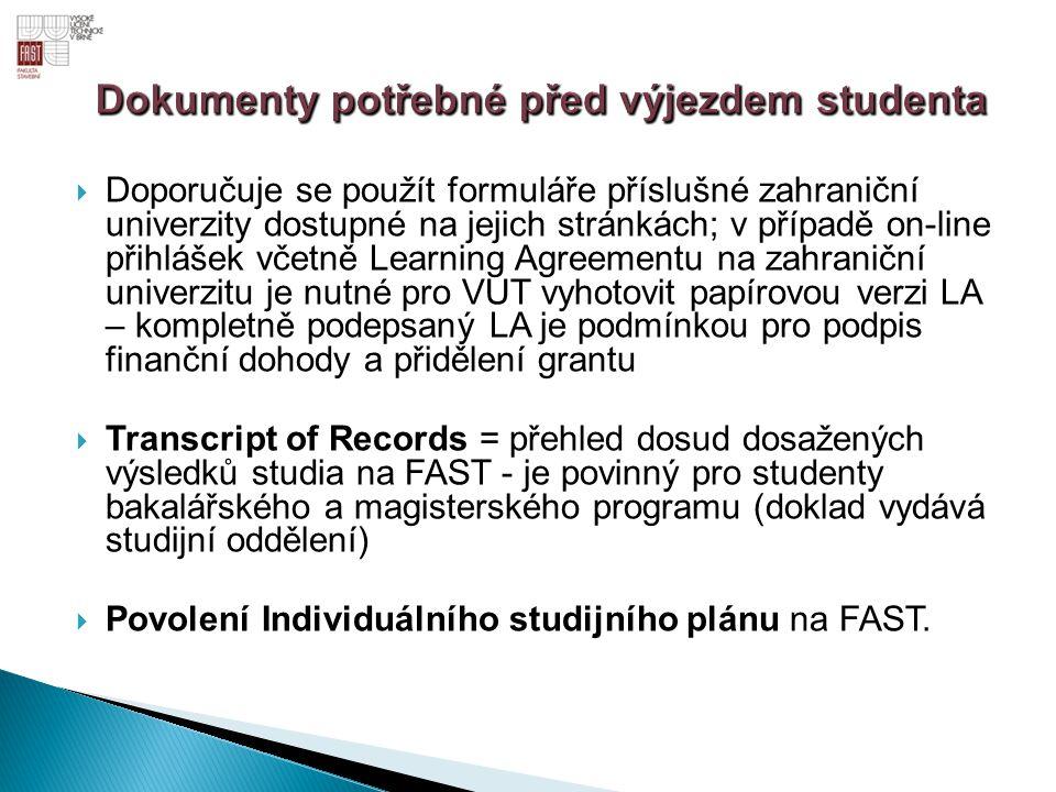 Dokumenty potřebné před výjezdem studenta