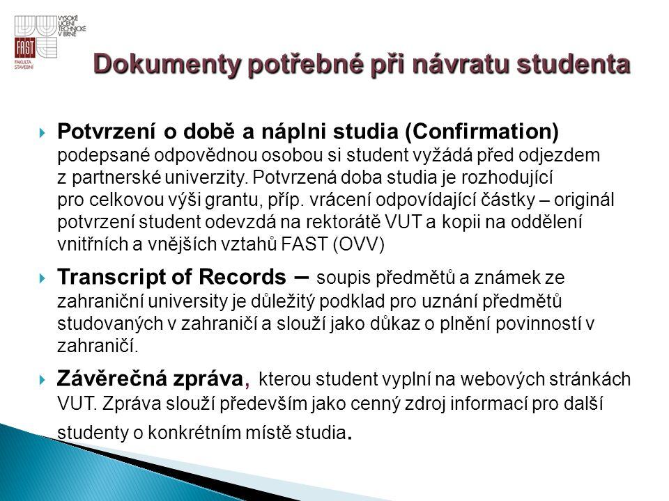 Dokumenty potřebné při návratu studenta