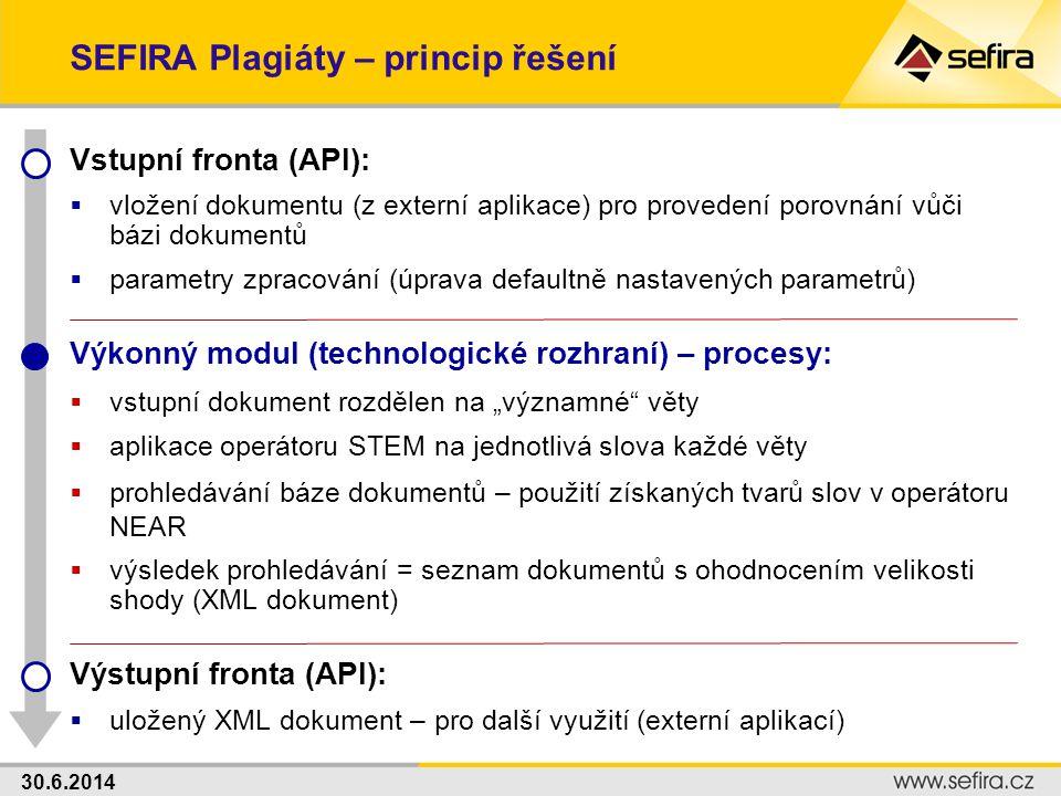 SEFIRA Plagiáty – princip řešení