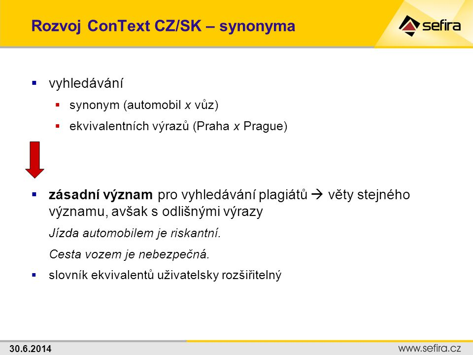 Rozvoj ConText CZ/SK – synonyma