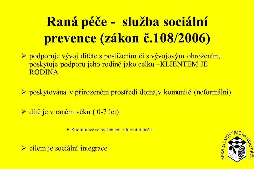 Raná péče - služba sociální prevence (zákon č.108/2006)