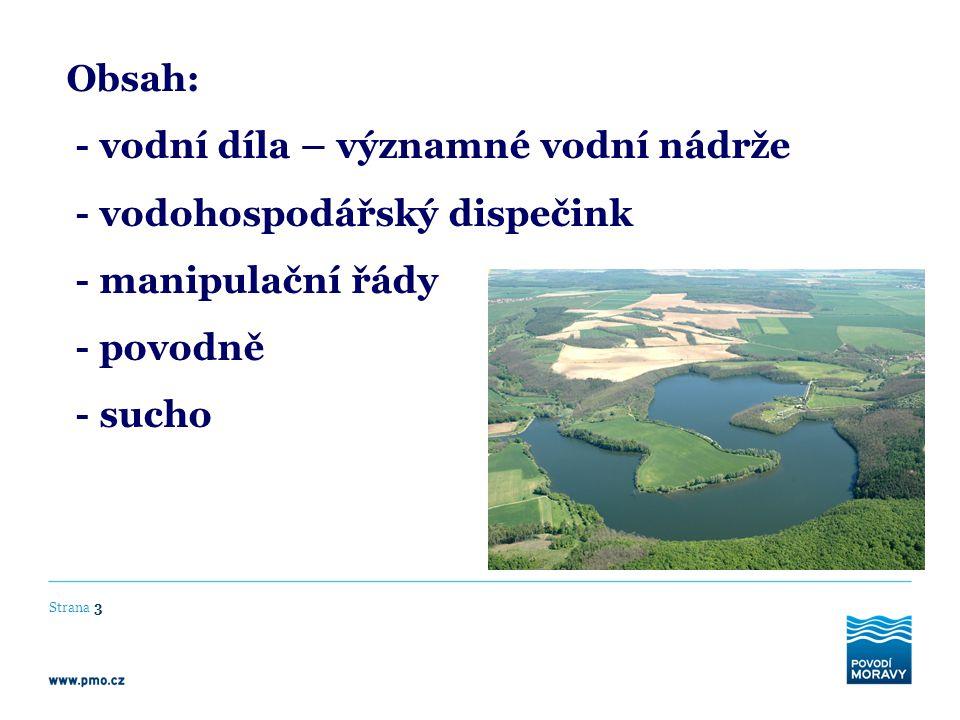 - vodní díla – významné vodní nádrže - vodohospodářský dispečink