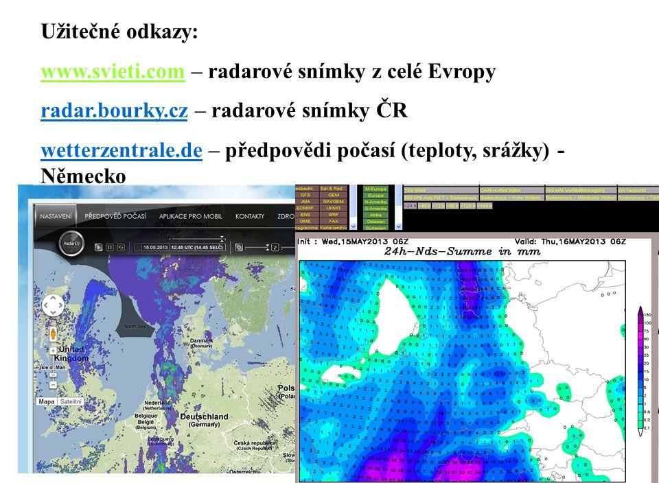 Užitečné odkazy: www.svieti.com – radarové snímky z celé Evropy. radar.bourky.cz – radarové snímky ČR.