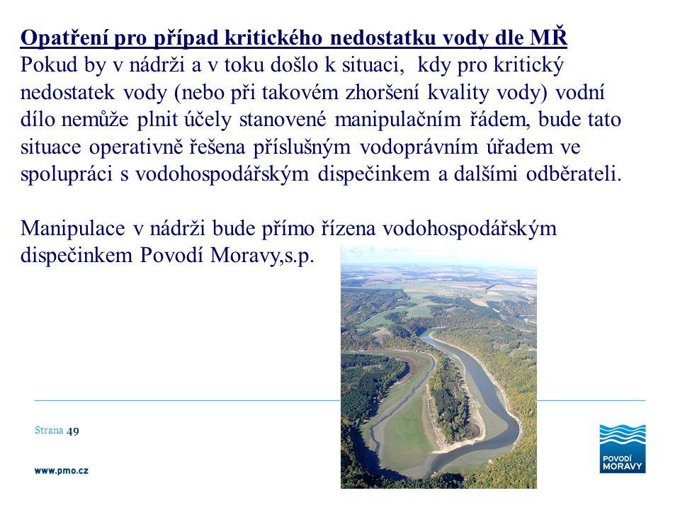 Opatření pro případ kritického nedostatku vody dle MŘ