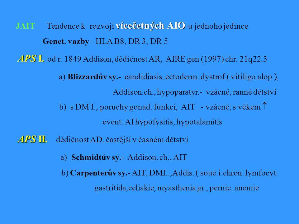 a) Schmidtův sy.- Addison. ch., AIT