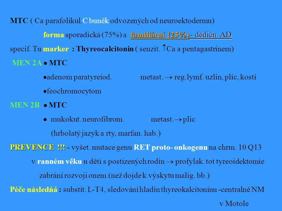 MTC ( Ca parafolikul.C buněk odvozených od neuroektodermu)