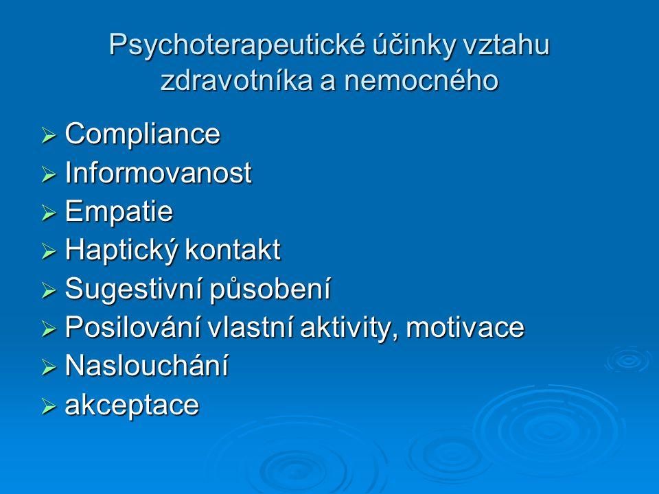 Psychoterapeutické účinky vztahu zdravotníka a nemocného