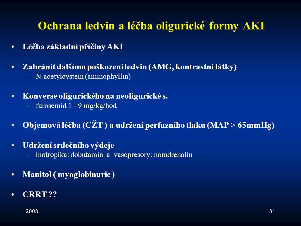 Ochrana ledvin a léčba oligurické formy AKI
