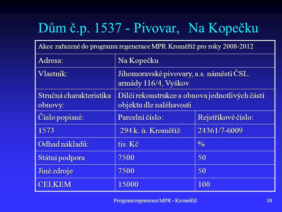 Dům č.p. 1537 - Pivovar, Na Kopečku