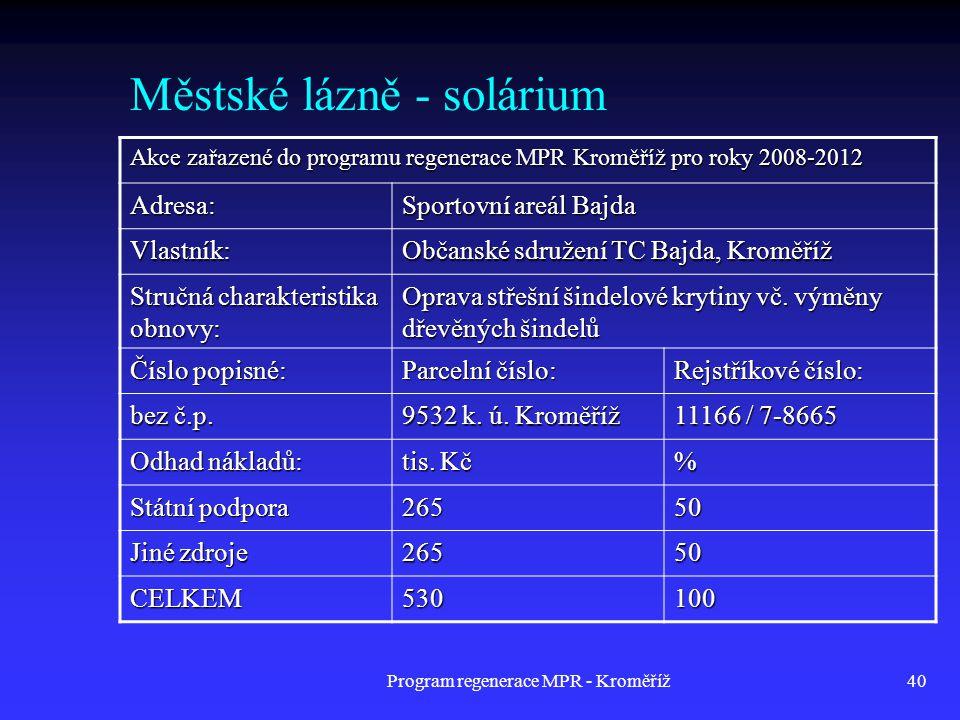 Městské lázně - solárium