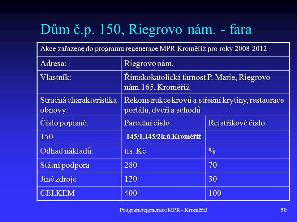 Dům č.p. 150, Riegrovo nám. - fara