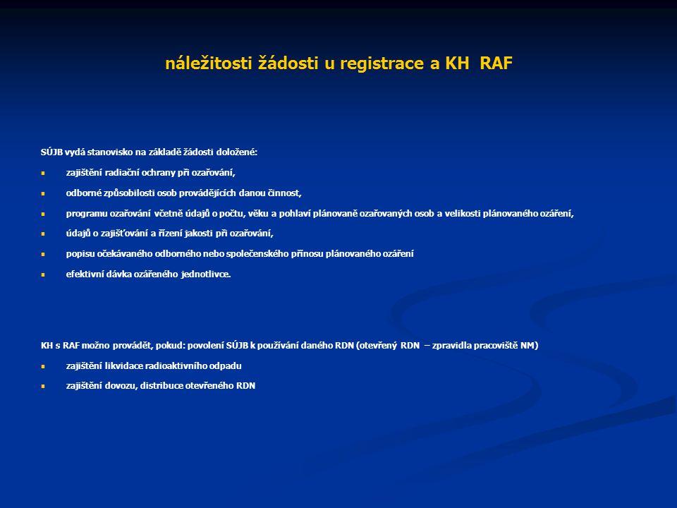 náležitosti žádosti u registrace a KH RAF