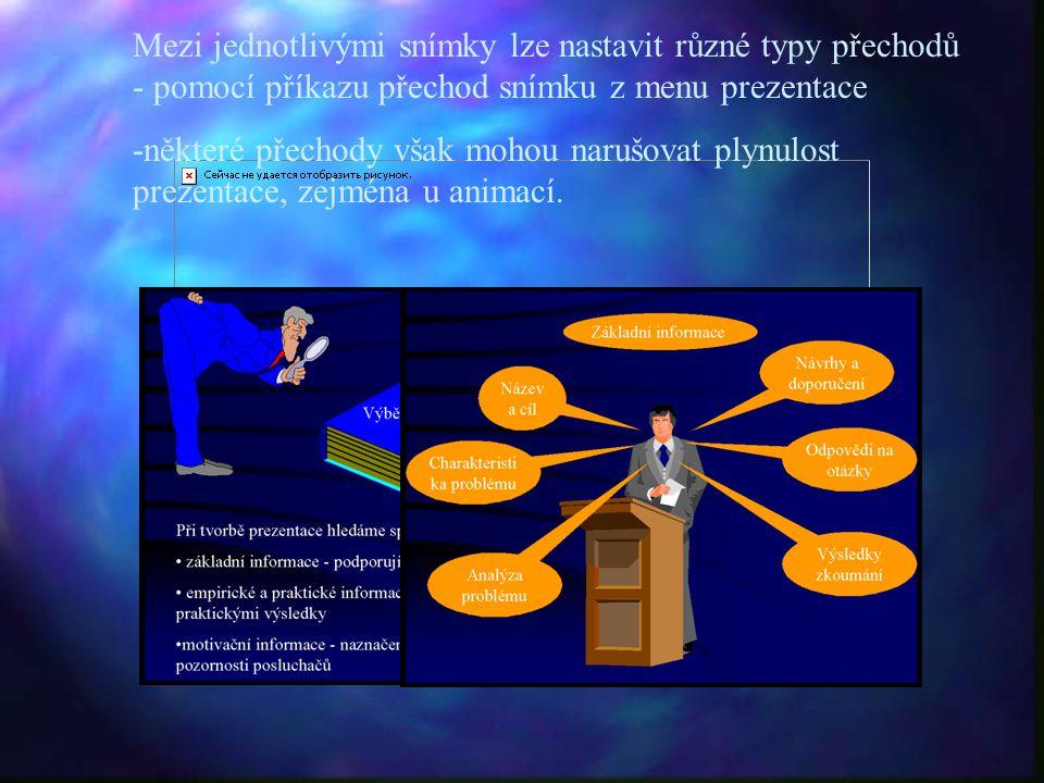 Mezi jednotlivými snímky lze nastavit různé typy přechodů - pomocí příkazu přechod snímku z menu prezentace