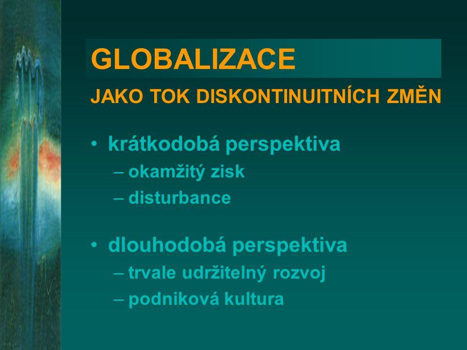 GLOBALIZACE krátkodobá perspektiva dlouhodobá perspektiva