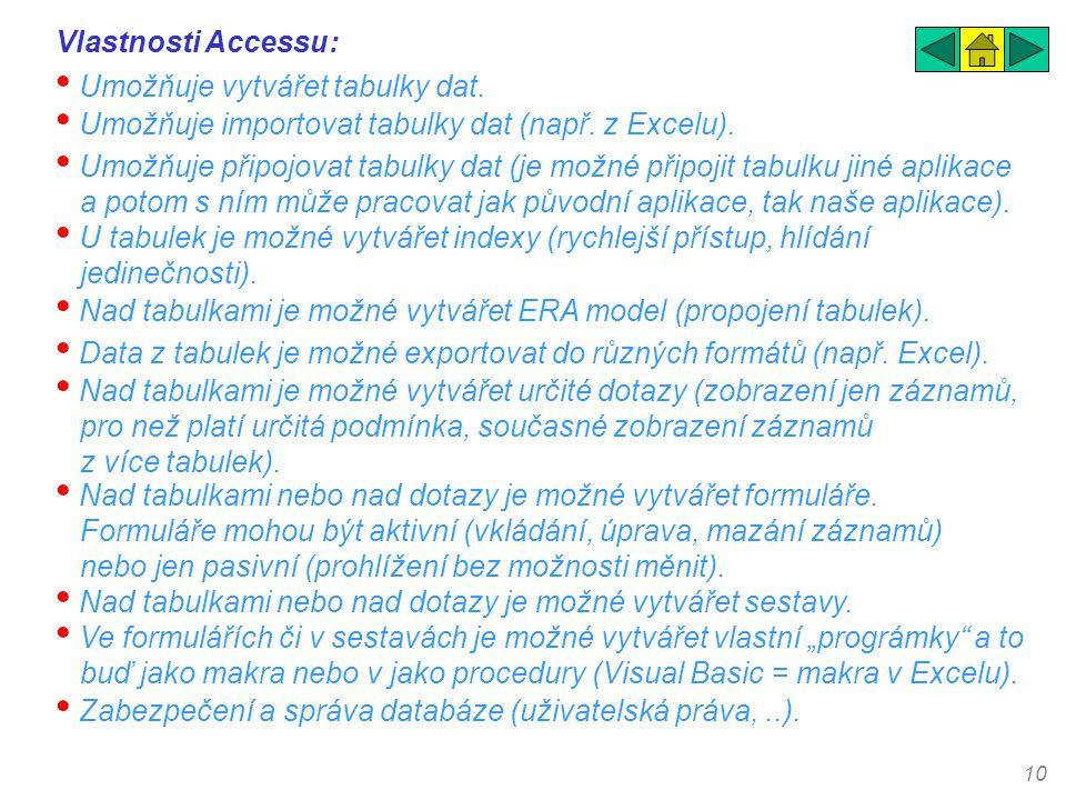 Vlastnosti Accessu: Umožňuje vytvářet tabulky dat. Umožňuje importovat tabulky dat (např. z Excelu).