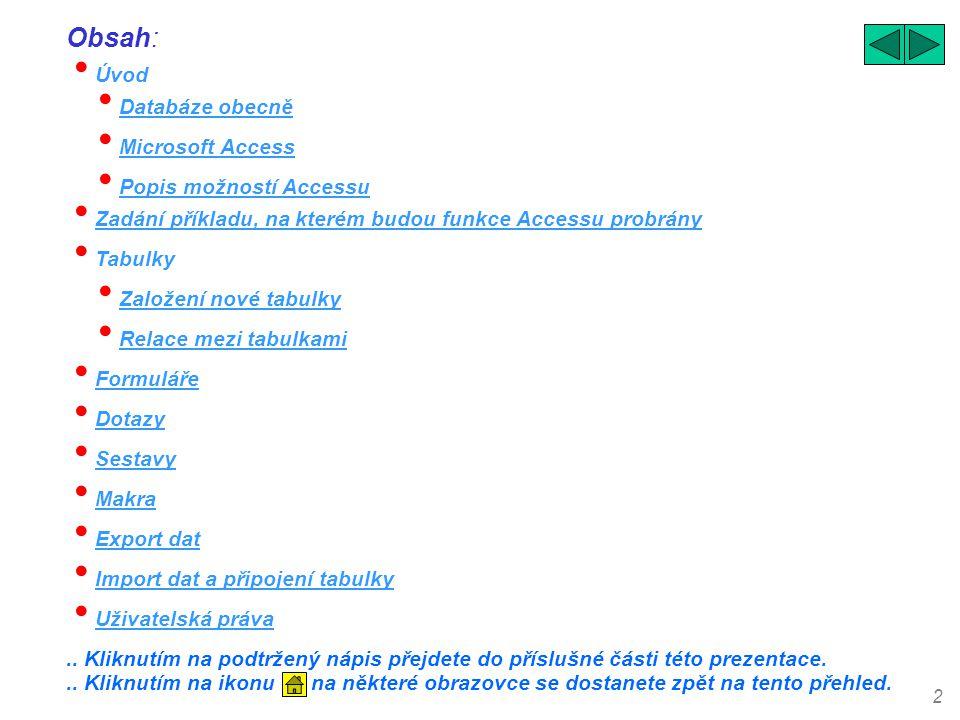Obsah: Úvod Databáze obecně Microsoft Access Popis možností Accessu