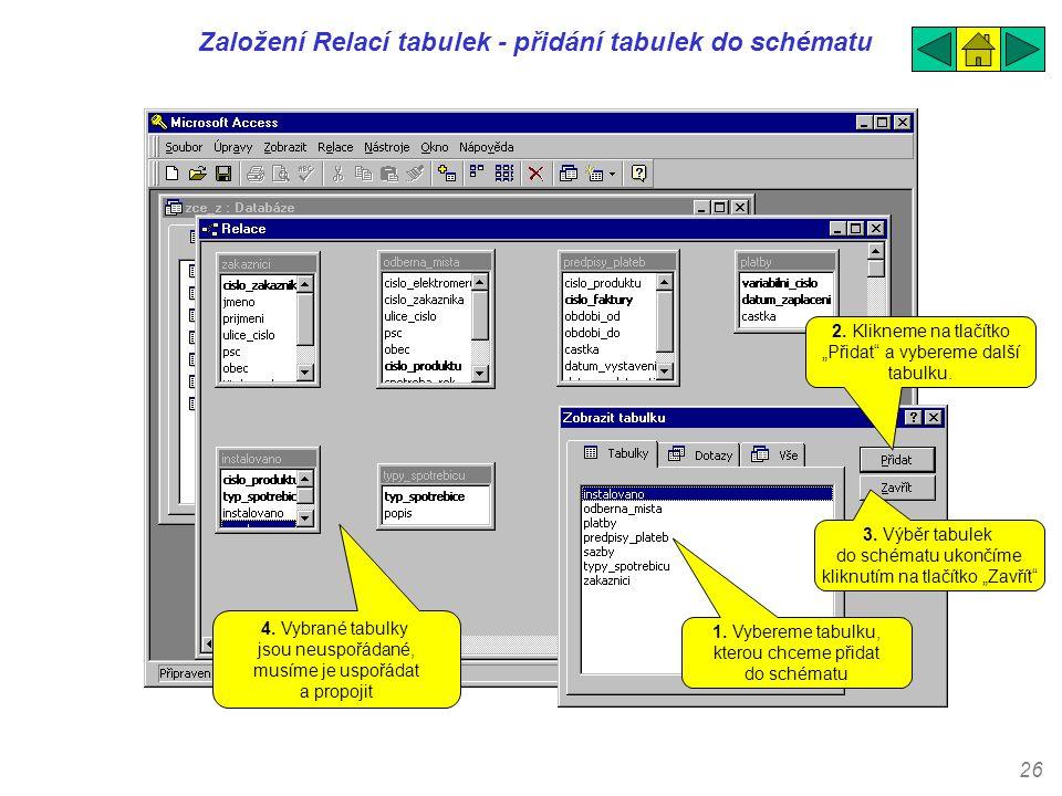 Založení Relací tabulek - přidání tabulek do schématu